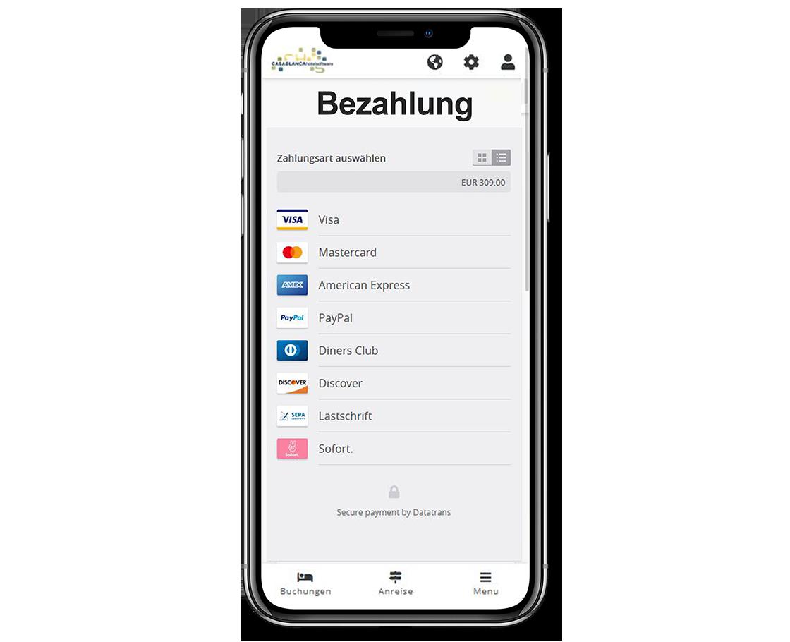 Smartphone Casablanca Gäste-App Direktzahlung 2