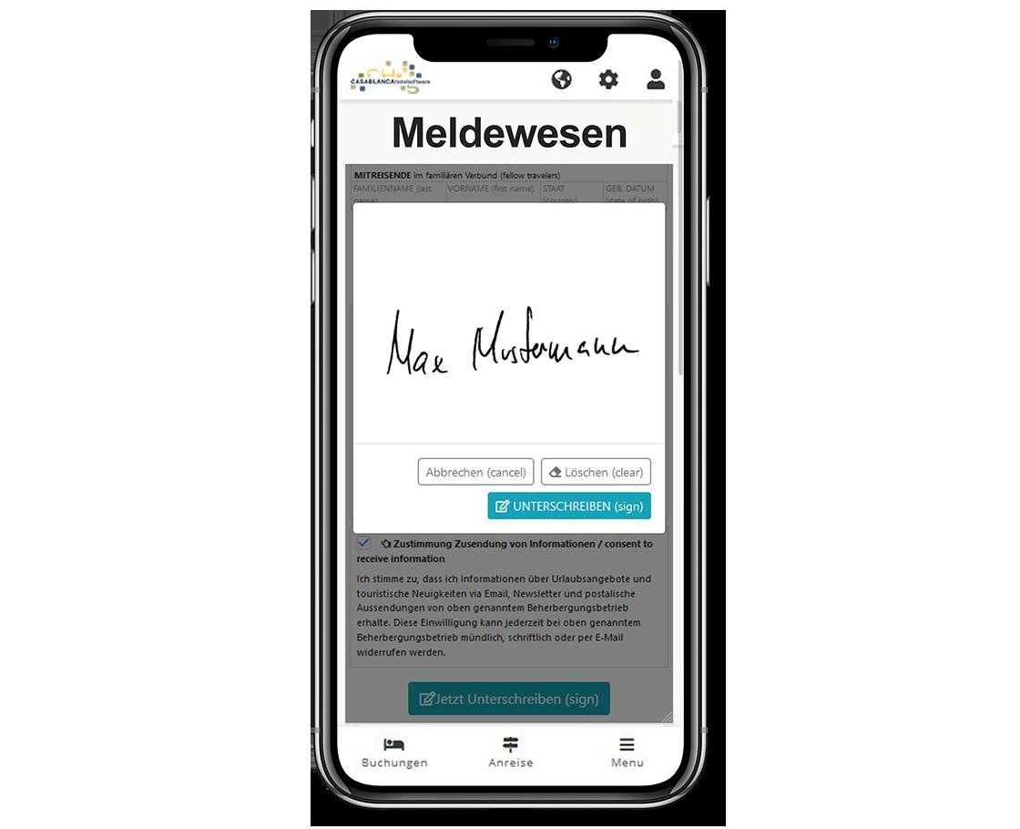 Smartphone Casablanca Gäste-App Meldewesen 2